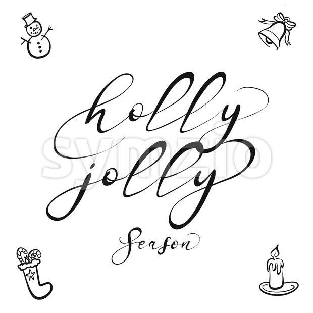 holly jolly lettering Stock Vector
