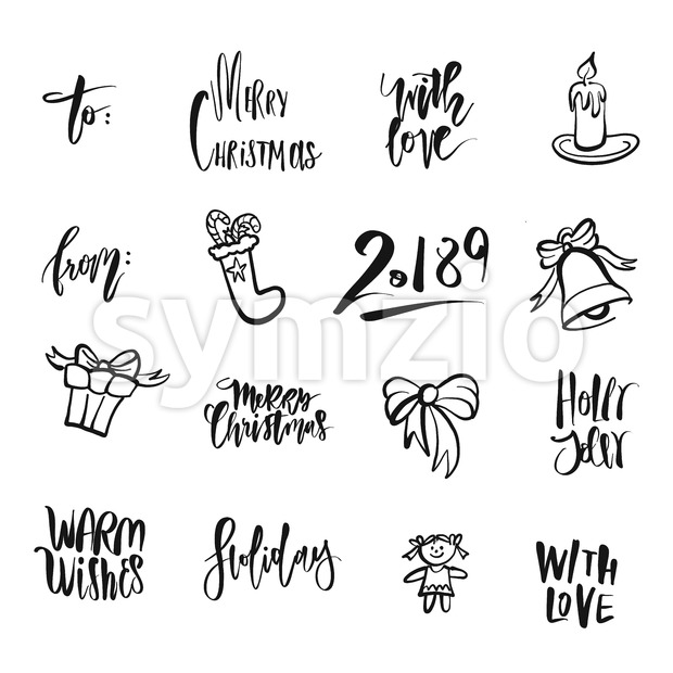 Christmas icons and words. Nice seasonal calligraphic artwork for greeting cards. Hand-drawn vector sketch.
