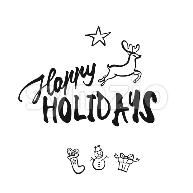 Happy Holidays lettering. Nice seasonal calligraphic artwork for greeting cards. Hand-drawn vector sketch.