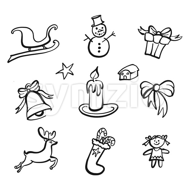 Christmas icons drawings. Nice seasonal calligraphic artwork for greeting cards. Hand-drawn vector sketch.