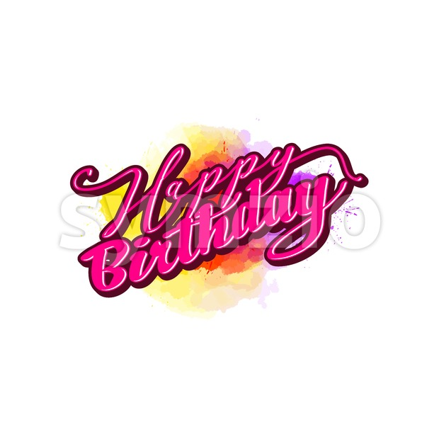 Happy birthday lettering. Nice calligraphic artwork for greeting cards, poster pints or wall art. Hand-drawn outlined vector sketch.