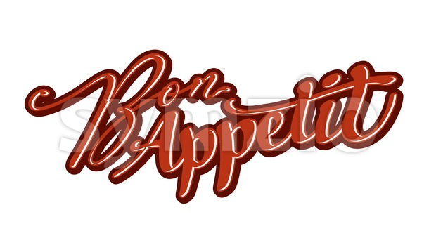 Bon Appetit lettering. Nice calligraphic artwork for greeting cards, poster pints or wall art. Hand-drawn outlined vector sketch.