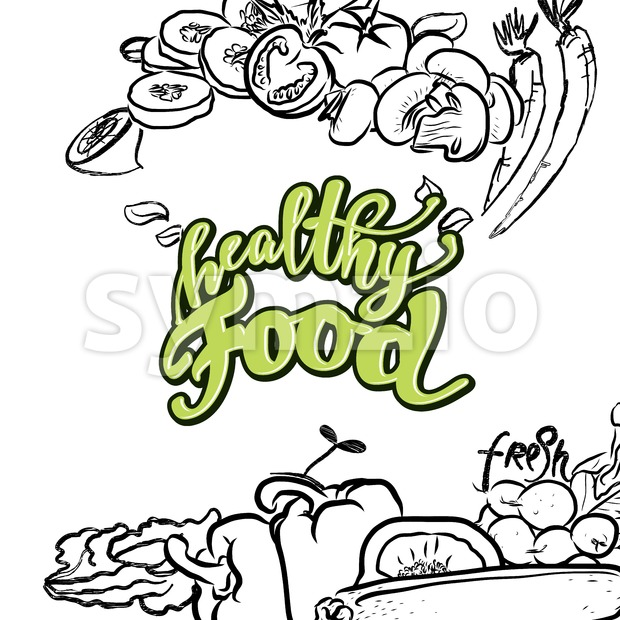 healthy Food lettering Stock Vector
