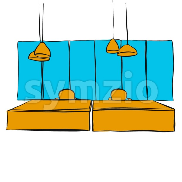 two office desk with hanging lamps Stock Vector