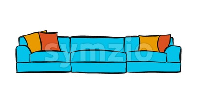 comfortable couch with three parts Stock Vector