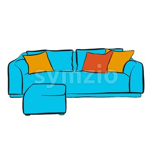 comfortable couch with two parts Stock Vector
