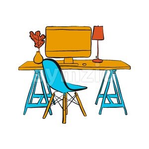 workplace with computer and chair Stock Vector