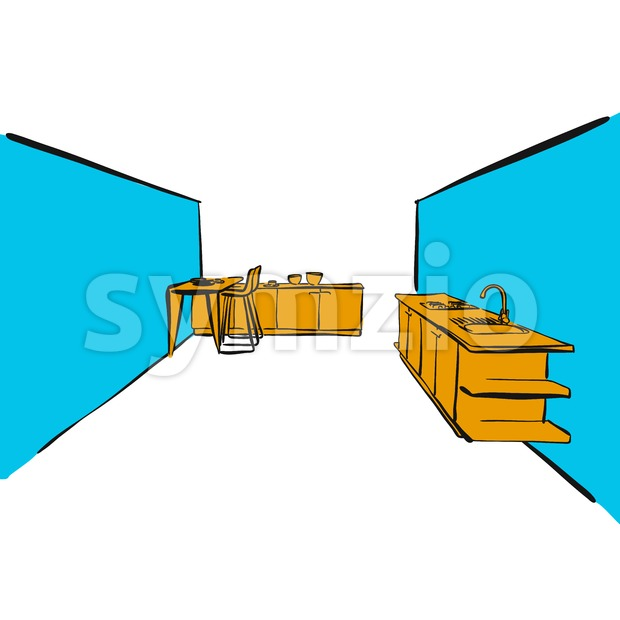Business kitchen drawing. hand-drawn vector sketch. business concept design.