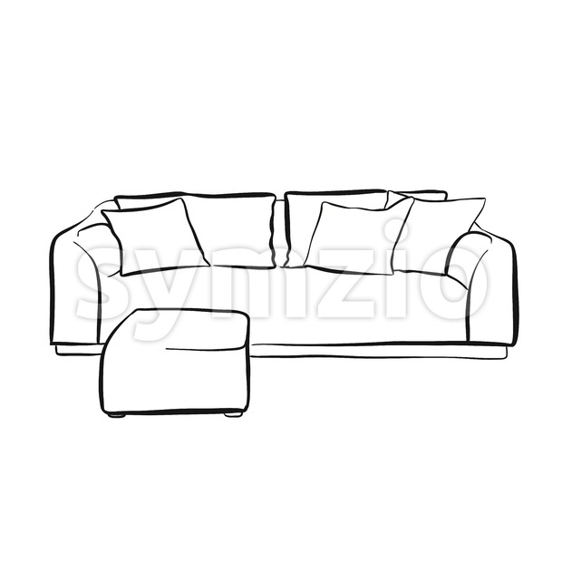 Simple couch outline drawing. hand-drawn vector sketch. business concept design.