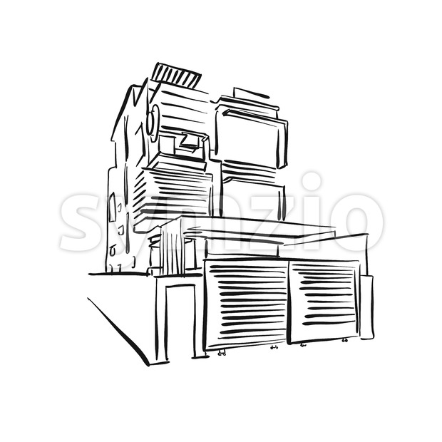 modern townhouse drawing Stock Vector