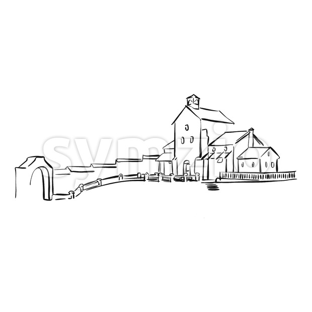 old yard drawing Stock Vector