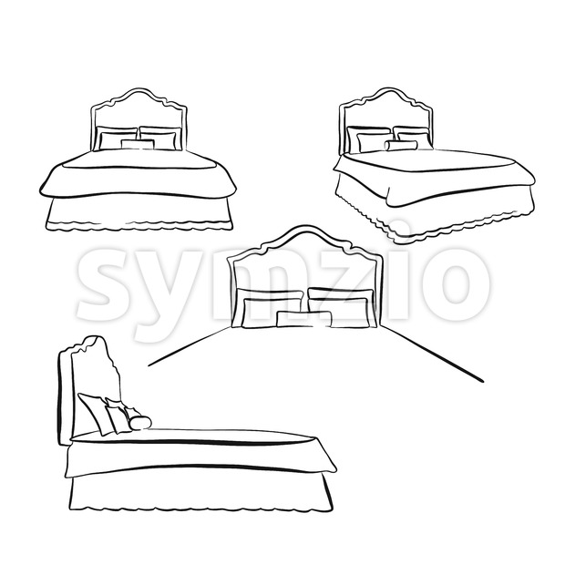 old kind size bed drawing Stock Vector