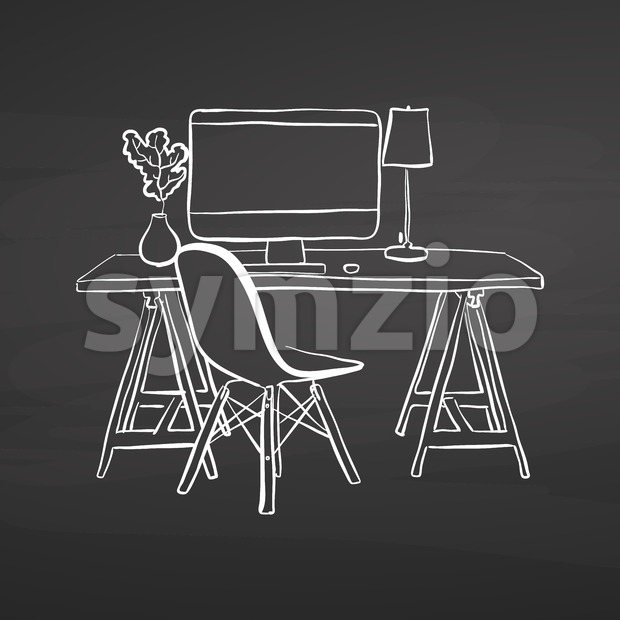 office desk drawing on chalkboard Stock Vector