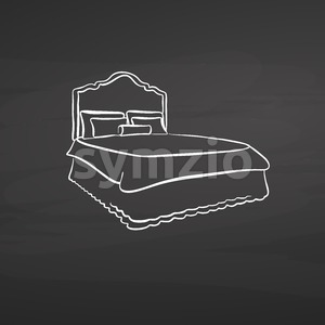 bed drawing on chalkboard Stock Vector