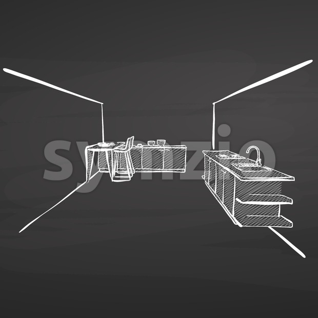 Kitchen drawing on blackboard. hand-drawn vector sketch. business concept design.