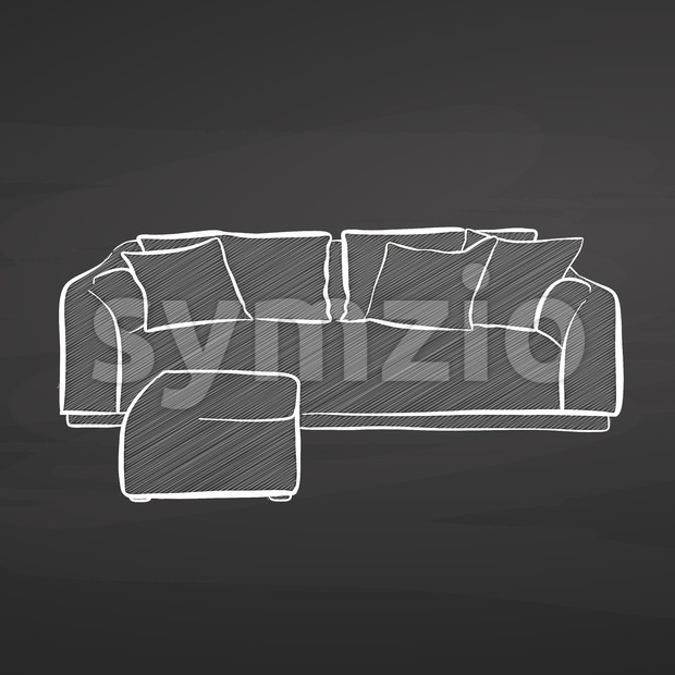 couch drawing on chalkboard Stock Vector
