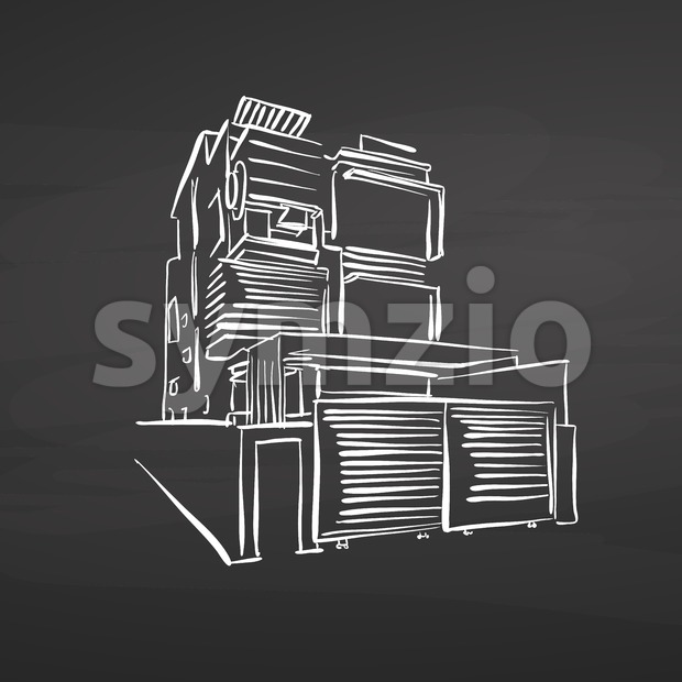 Modern office house drawing on chalkboard. hand-drawn vector sketch. business concept design.