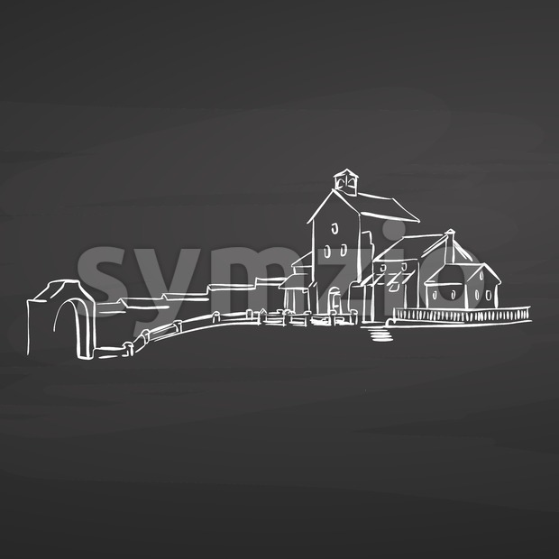 farm house drawing on chalkboard Stock Vector