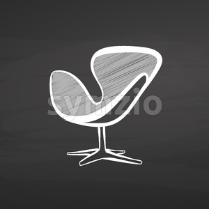 modern chair drawing on chalkboard Stock Vector