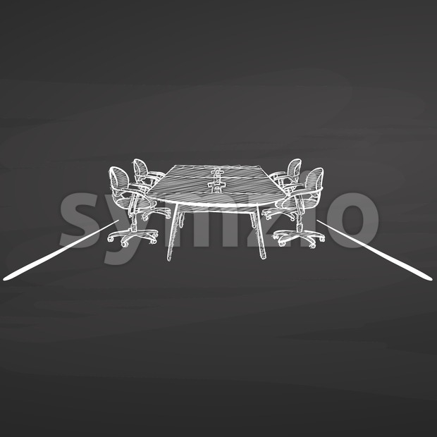 Meeting desk drawing. hand-drawn vector sketch. business concept design.