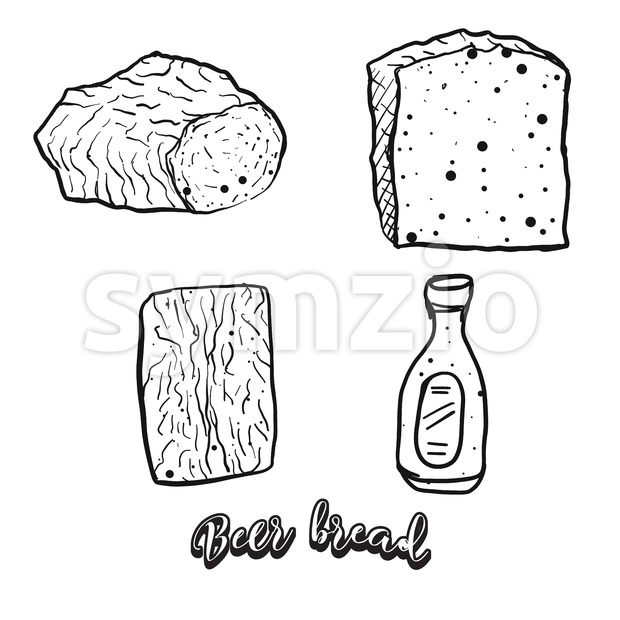Hand drawn sketch of Beer bread Stock Vector
