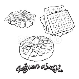 Hand drawn sketch of Belgian waffle bread Stock Vector