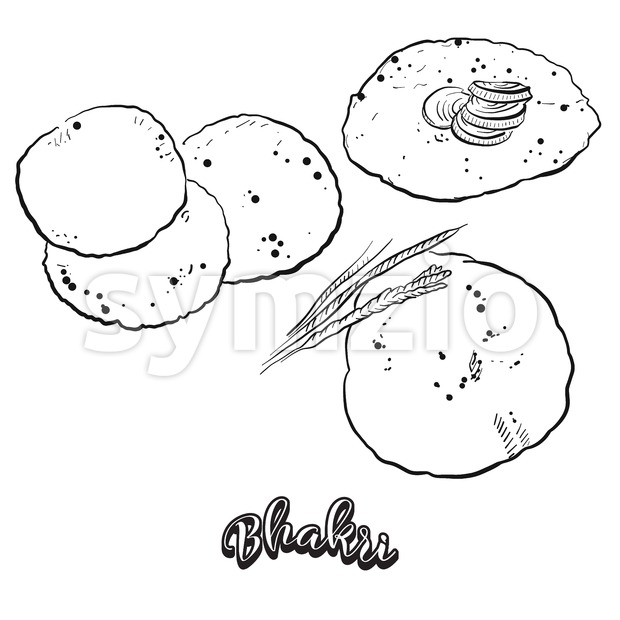 Hand drawn sketch of Bhakri bread Stock Vector