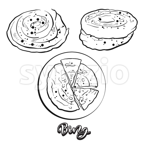 Hand drawn sketch of Bing bread Stock Vector