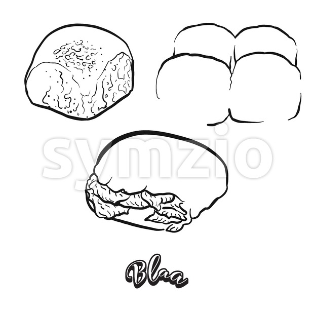 Hand drawn sketch of Blaa bread Stock Vector