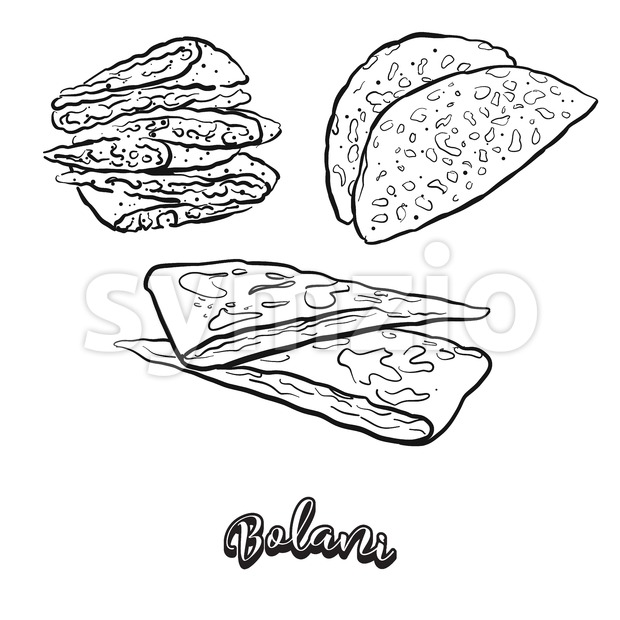 Hand drawn sketch of Bolani bread. Vector drawing of Flatbread food, usually known in Afghanistan. Bread illustration series.