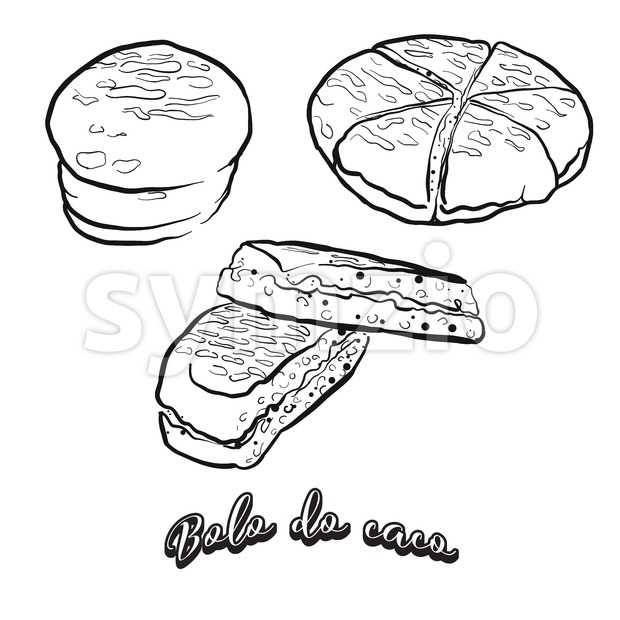 Hand drawn sketch of Bolo do caco bread Stock Vector
