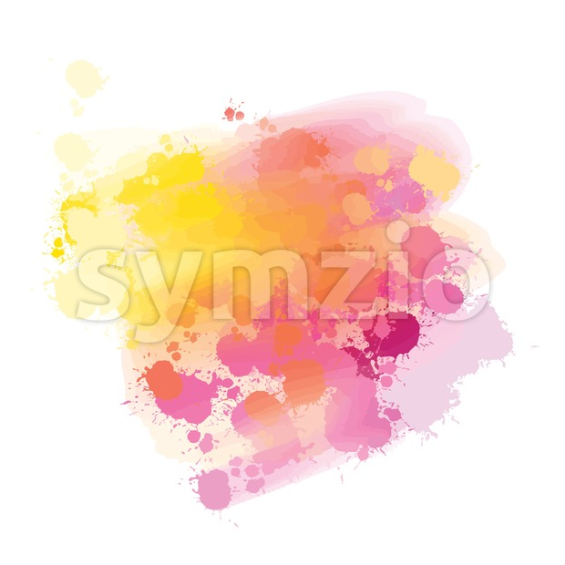 yellow and pink splatter watercolor background Stock Vector