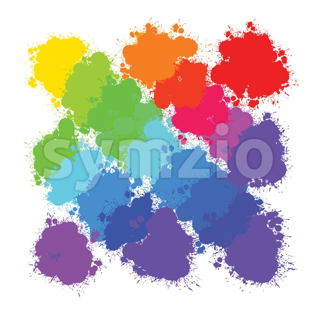 Colorful splashes backgrounds pattern, vector background for print decoration. CMYK color space.