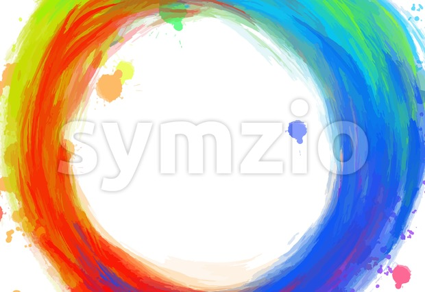 Hand-drawn colorful circle strokes, colorful vector background for print decoration. CMYK color space.