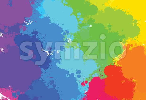 Hand-drawn colourful splashes diagonal, vector background for print decoration. CMYK color space.