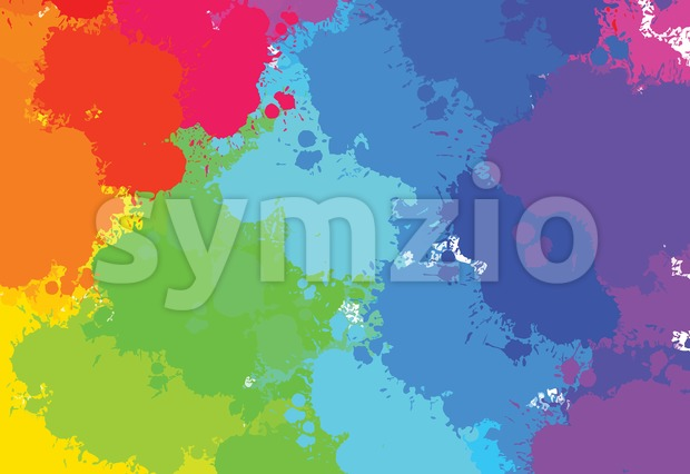 Hand-drawn colourful splashes pattern, vector background for print decoration. CMYK color space.