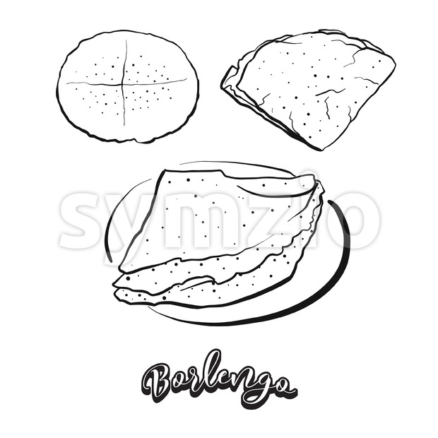 Hand drawn sketch of Borlengo bread Stock Vector