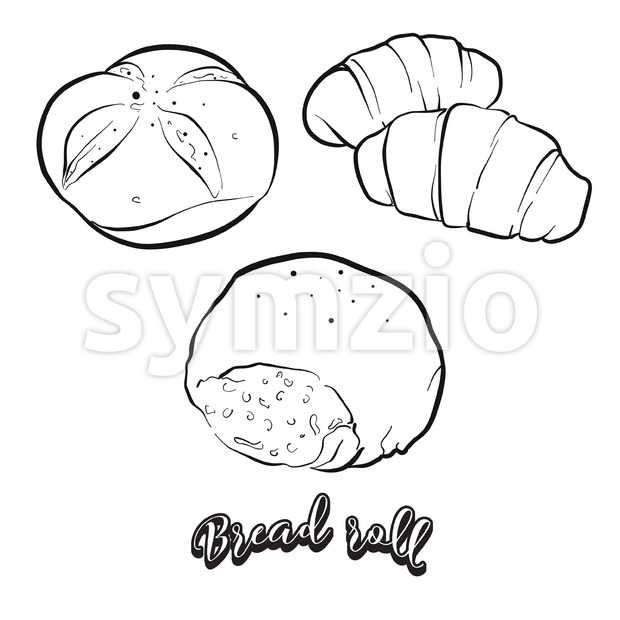 Hand drawn sketch of Bread roll bread Stock Vector