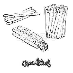 Hand drawn sketch of Breadstick bread Stock Vector