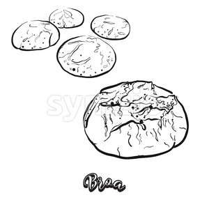 Hand drawn sketch of Broa bread Stock Vector