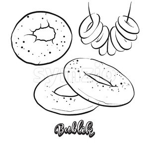 Hand drawn sketch of Bublik bread Stock Vector