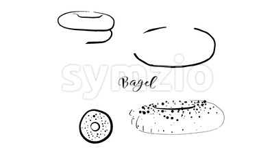 Animation of Hand drawn sketch of Bagel bread Stock Video
