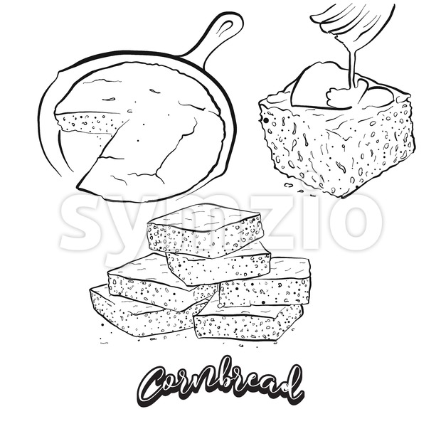 Hand drawn sketch of Cornbread bread Stock Vector