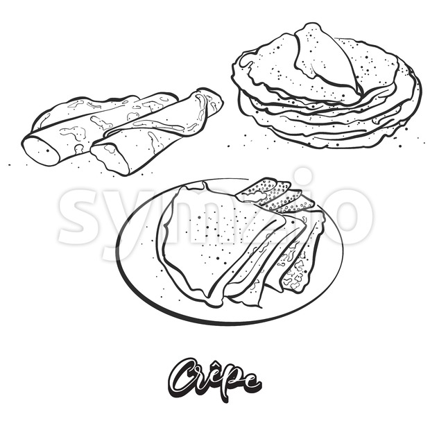 Hand drawn sketch of Crêpe bread Stock Vector