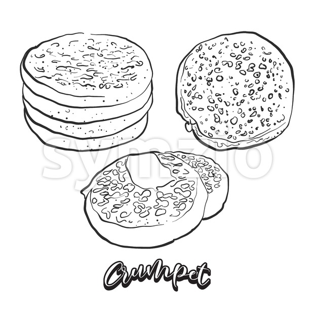 Hand drawn sketch of Crumpet bread. Vector drawing of Flatbread food, usually known in United Kingdom. Bread illustration series.