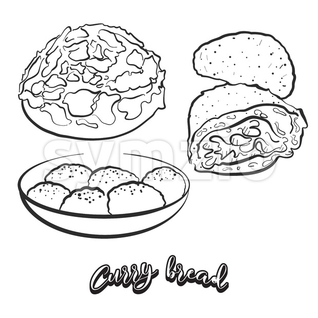 Hand drawn sketch of Curry bread bread. Vector drawing of Bun food, usually known in Japan. Bread illustration series.