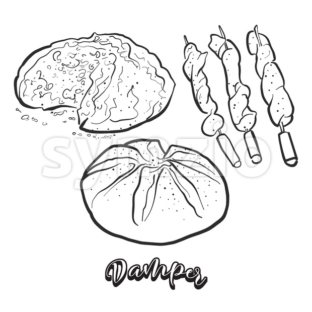 Hand drawn sketch of Damper bread. Vector drawing of Soda bread food, usually known in Australia. Bread illustration series.