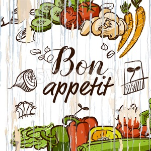 Bon appetit vegetables on wood Stock Vector
