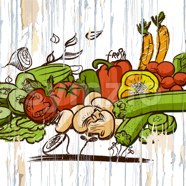Vintage vegetables on wood. Vector food illustration.