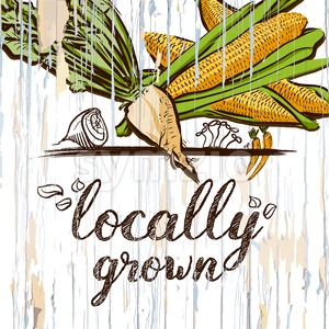Locally grown illustration on wood Stock Vector